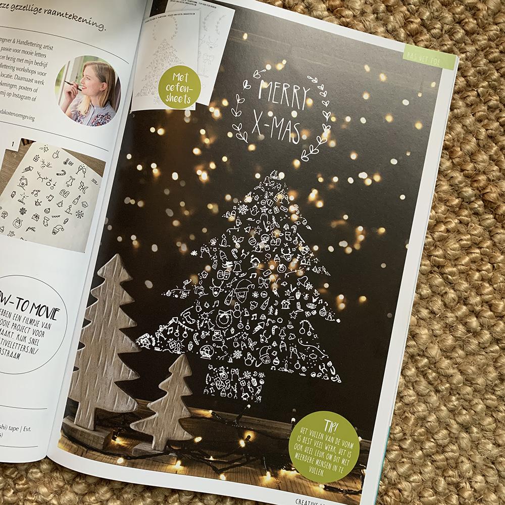 raamtekening kerstboom