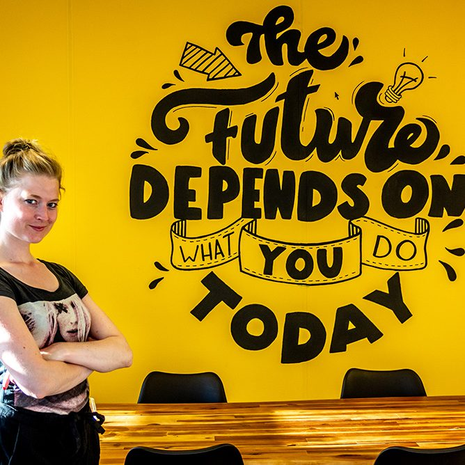 Muurtekening 'The future depends on what you do today'